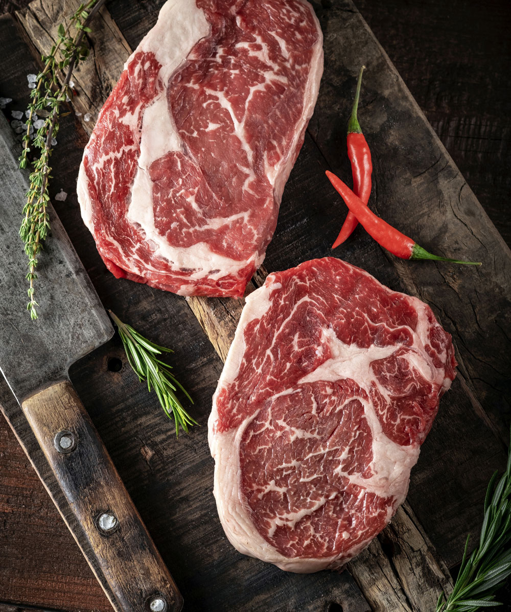 Natural Beef Steaks with lots of marbling
